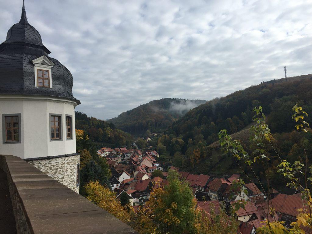 Blick vom Schloss auf die Stadt.